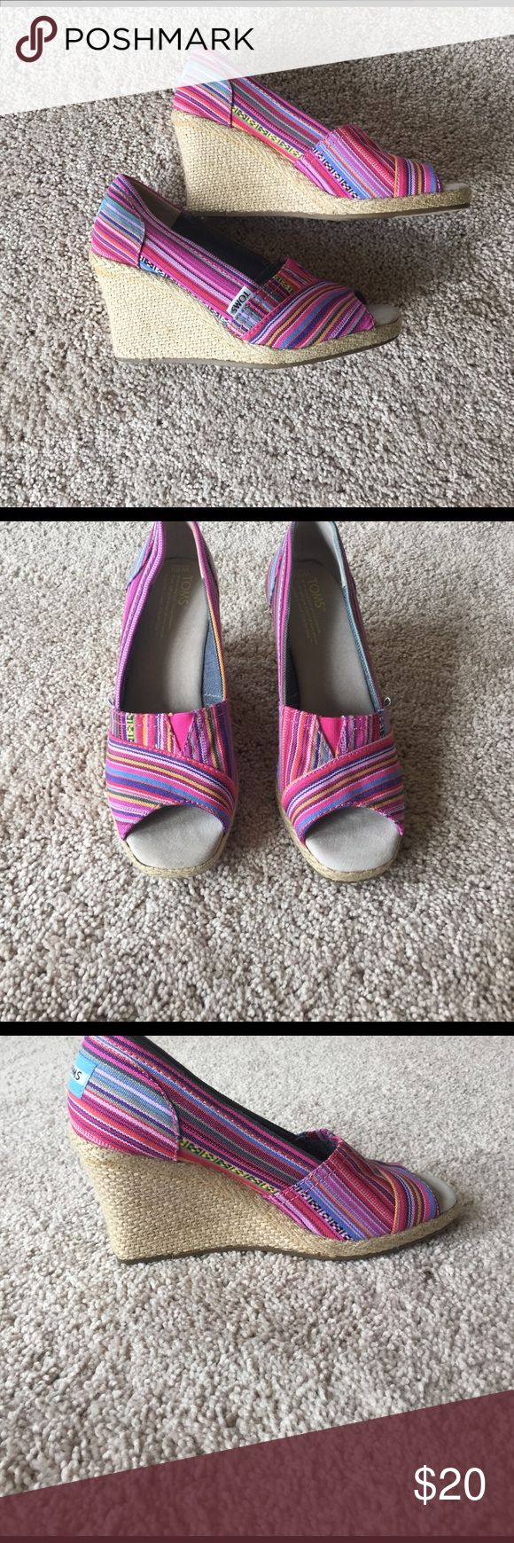 Pink Striped Wedges Adorable wedges! 3' heel and very comfy. Fits both wide and narrow feet! TOMS Shoes Wedges