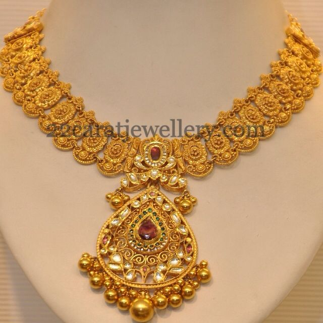 South Indian Gold Kundan necklace