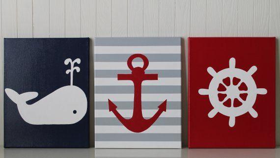 Nautical Nursery Decor Whale Nursery Anchor Nursery Ship's Wheel Navy Light Blue Red Nursery Painting