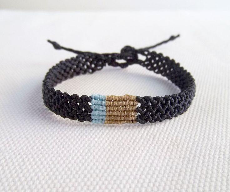 Men's macrame bracelet black with beige and light blue | Makrame braided jewelry gift for him boho ethnic | EGST by KnotknotBijoux on Etsy