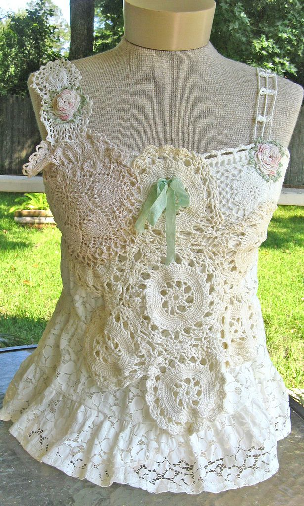 Vintage crochet lace doily top by @Kimberly Peterson Ryan She has several great tops