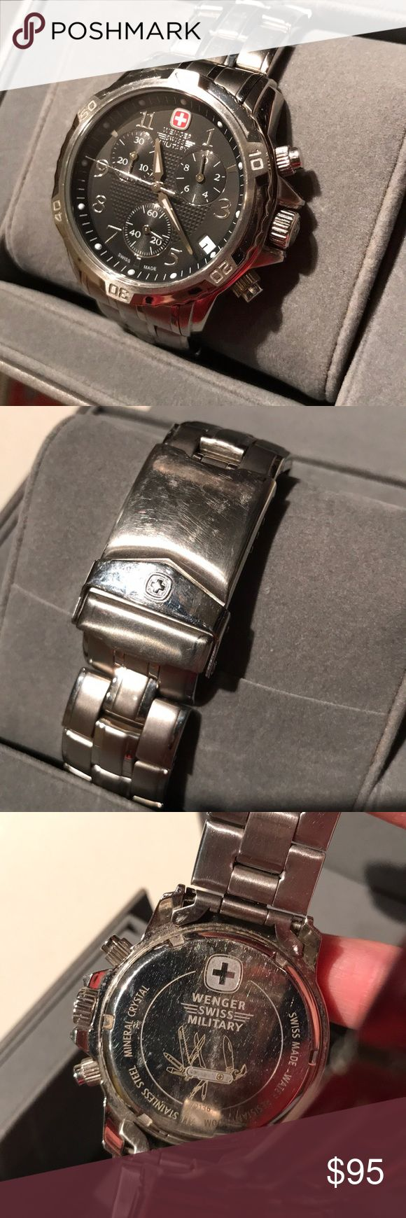 Men's Swiss Military Watch Wegnwr Swiss military watch- chronograph style. Surface scratches on the clasp as seen in picture. Light wear throughout. No scratches on glass Wegner Accessories Watches