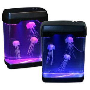"This desktop tank holds three jellyfish which ""swim"" around the tank (thanks to a gently contrived current). In the top of the tank are 6 bright LEDs, which let you set the mood. You can either have them blend softly from one color to the next, or stop on your favorite color. Either way, the jellies are happy to frolic in their kaleidoscopic, quiet menace"