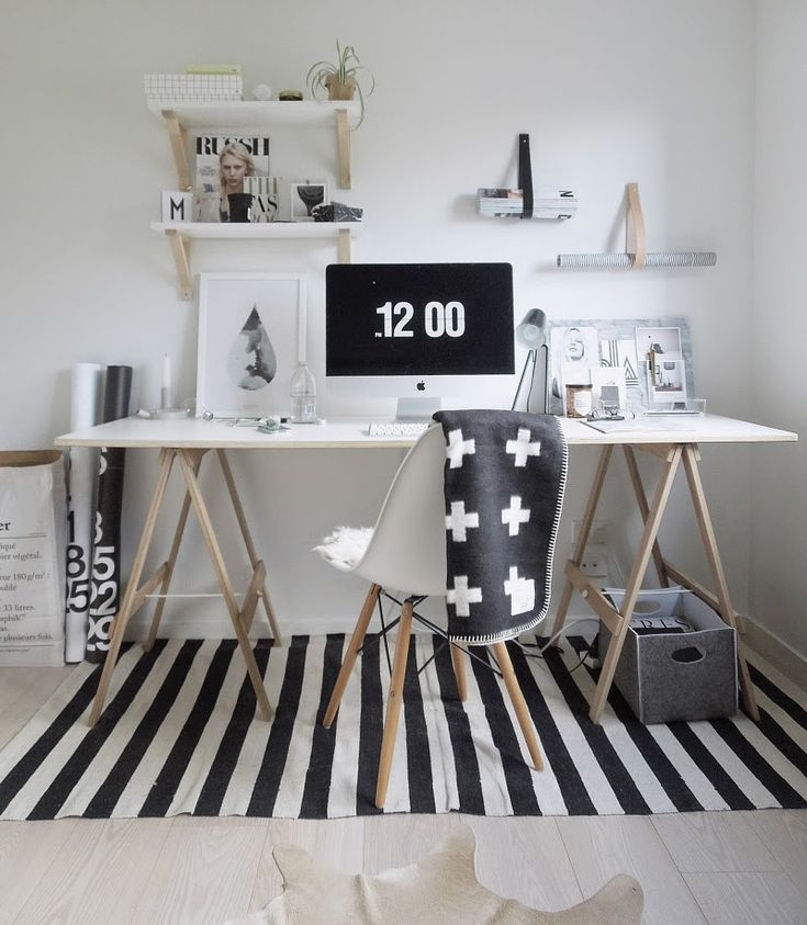 interior * office * workplace * black&white * wood * shelves * stripes * crosses * eames * merci paper bag