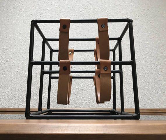 Arthur Umanoff 4-bottle wine rack / midcentury iron and