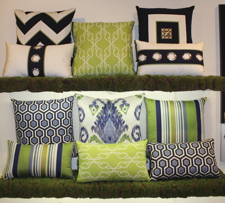 Elaine Smith Inc.- IHFC Interhall 603 Item # QD2 Jewel Mitered Navy Pillow #HpMkt #stylespotters Indoor/outdoor, pet and kid friendly- the prettiest and toughest pillows available!