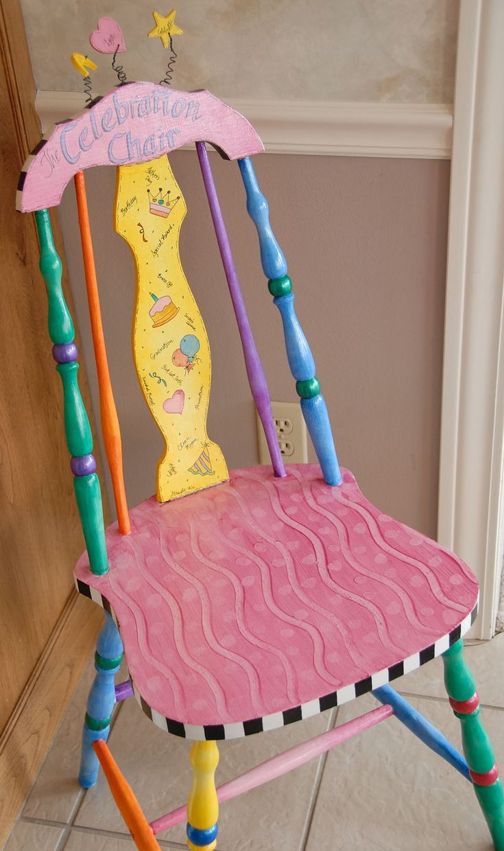Such a cute idea. gotta start looking for the perfect chair.: Fun Paintings Kids Chairs, Classroom, Crafts Ideas, Celebrity Chairs, Perfect Chairs, Funky Decor, Birthday Chairs, Projects I D, The Roller Coasters