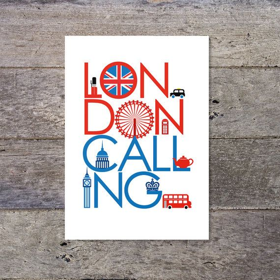London Calling typography poster by PaperPaper on Etsy, £14.00