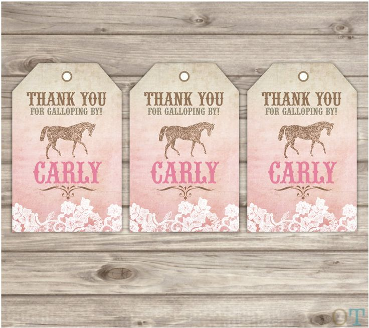 Rustic Lace Horse Thank You Tags Printable Gift Tags
