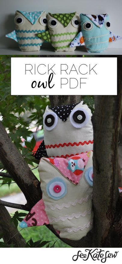 rick rack owl PDF pattern | kids toy tutorials | sewing kids toys | sewing tutorials | sewing patterns | DIY kids toys | DIY sewing tips | sewing tips and tricks || See Kate Sew