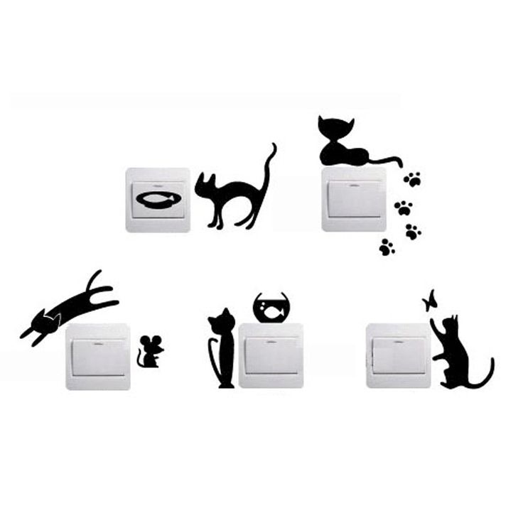 1 Set of 5pcs Removable Cute Lovely Cat Switch Wall Sticker Vinyl Decal Home Decor-in Wall Stickers from Home & Garden on Aliexpress.com | Alibaba Group