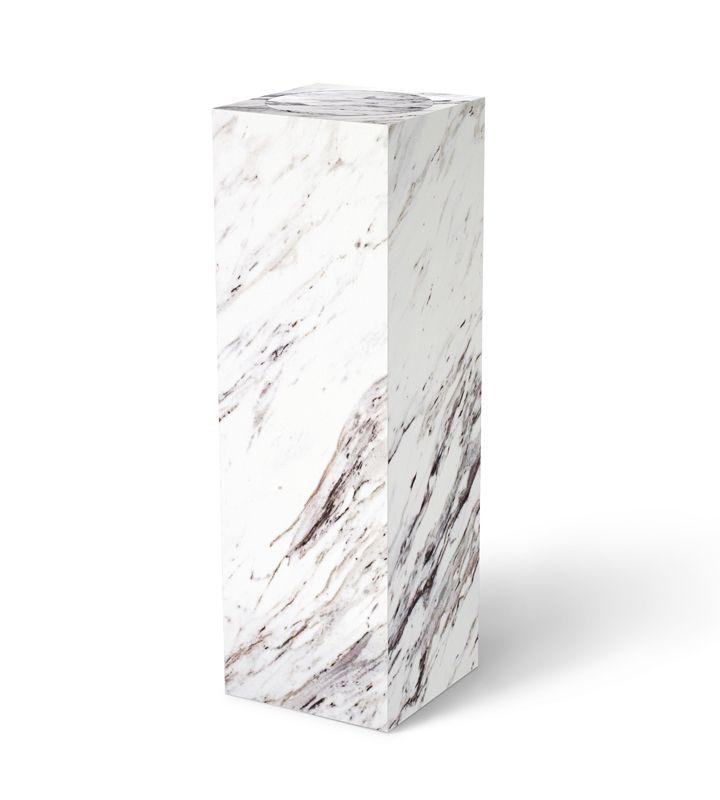 White Laminate Pedestal With Turntable Calcutta Marble Display Pedestal Sculpture Stand