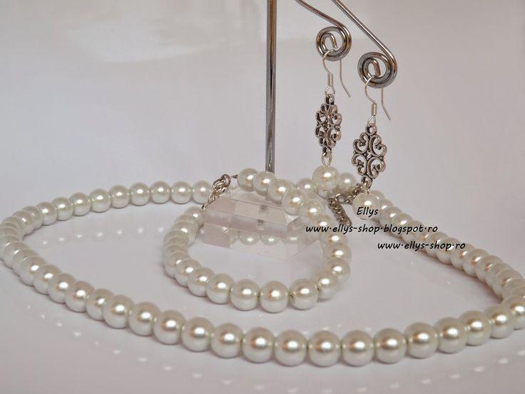 Ellys Shop: Set colier, bratara si cercei perle albe si acceso...