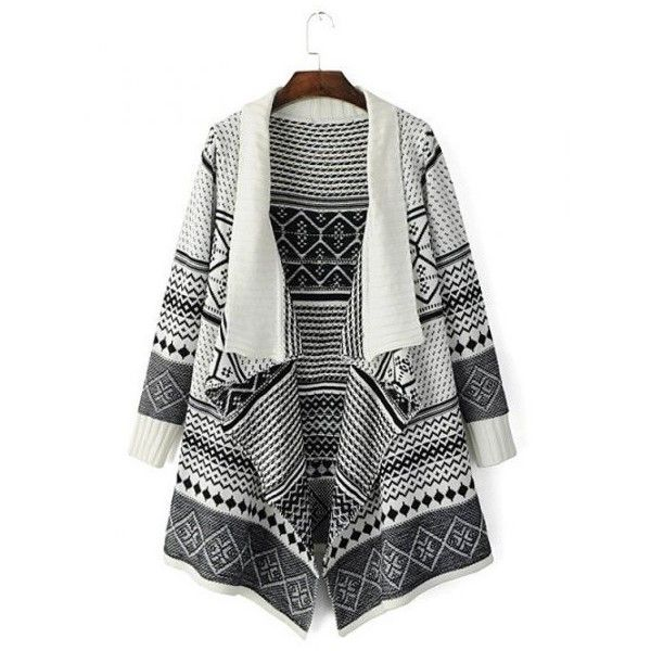 Tribal Pattern Knitted Cardigan (240 SEK) ❤ liked on Polyvore featuring tops, cardigans, ethnic print cardigan, tribal print cardigans, cardigan top, tribal print tops and tribal pattern cardigan