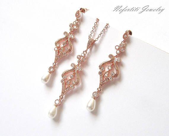 Conjunto rosa oro joyería nupcial, joyería de la boda de oro rosa, perla nupcial conjunto, collar de oro rosa y pendientes, joyería de la boda perlas oro rosa