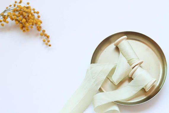 "Hand Dyed Silk Ribbon, Gold Silk Ribbon, Plant Dyed silk ribbon, 1.5"", Wedding Decoration, Stationery ribbon, Photography Props, Yellow Silk"