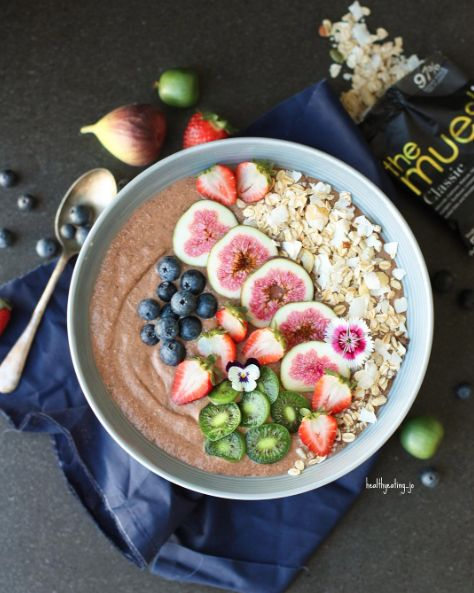 Chocolate Muesli Chia Protein Smoothie Bowl by @healthyeating_jo - Sweeter Life Club