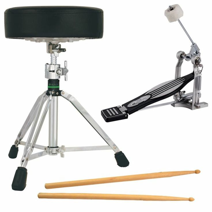 Percussion Plus 900P Bass Drum Pedal / On Stage AHW5B Drumsticks / Chronos CA60 Drum Throne Pack