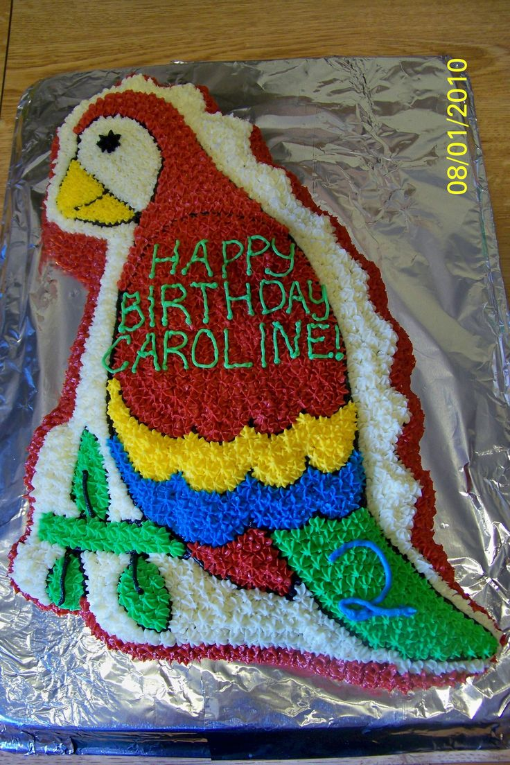 Parrot Cake (Dinosaur Cake Pan)  What a cool way too use the dinosaur pan.