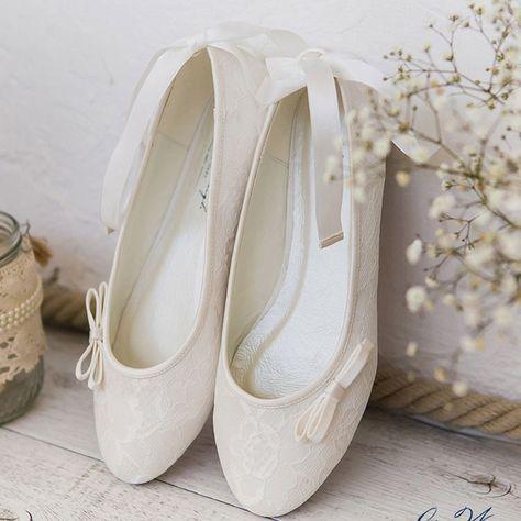 Ballerines mariage ivoire en dentelleruban à nouer à la cheville Lottie - Westerleigh