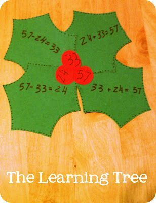 Fact Family Holly!  What a great craft for the Christmas season!  This can easily be turned into a center where students match up the berries to the correct leaves!