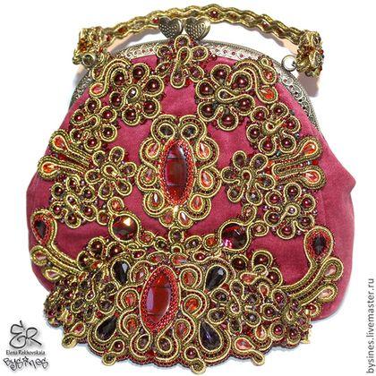 """Комплект """"Royal-set"""" - бордовый,золотой,бордовая сумка,бархатная сумочка"""