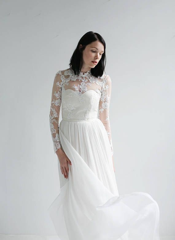 Long Sleeve Lace And Silk Wedding Dress Sample SaleUnique