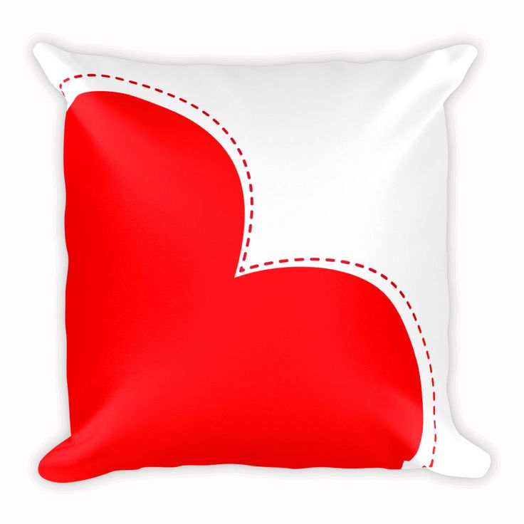 Red Heart Cute Love Cushion, Animal Pillow, Home Decor, 18x18 inch by CozyDesignCo on Etsy