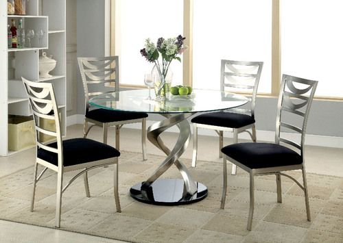 5 PC Furniture of America Roxo Satin Dining Table Set CM3729T