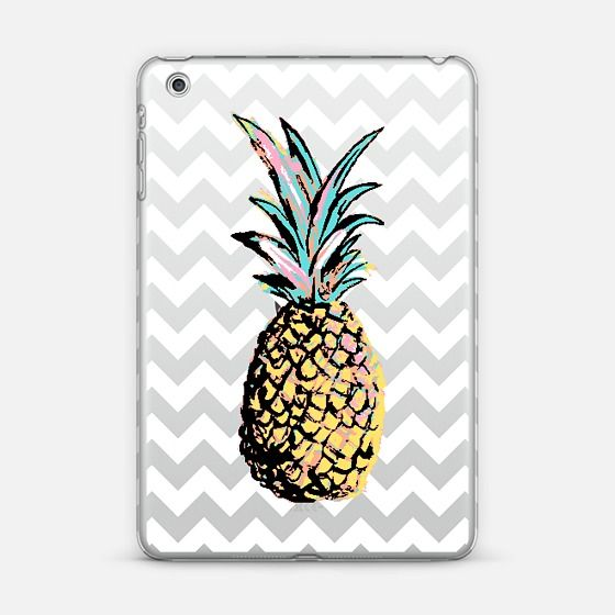 Pastel Party Pineapple White Chevron Transparent iPad Mini Case by Organic Saturation | Casetify. Get $10 off using code: 53ZPEA