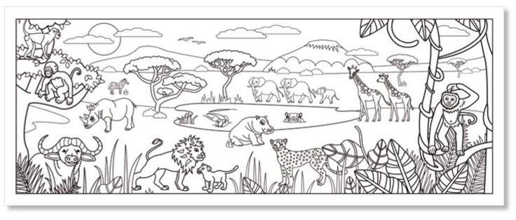 Coloriage d'une fresque savane africaine - coloriage savane Tête à modeler