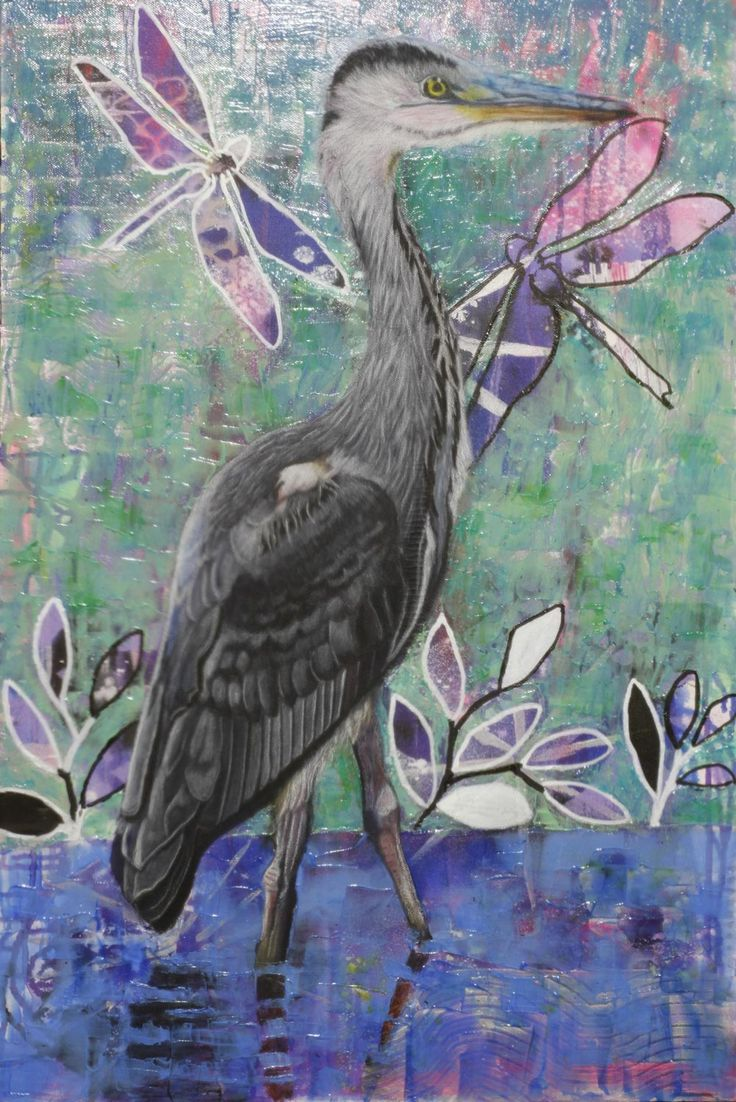 A Heron Stands in the Dee – 24Steps Art and Design  #heron #grey_heron #blue_and_teal #acrylic_art