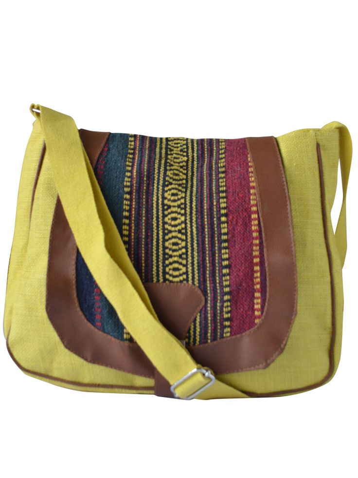#slingbag #jute #jutebag #yellow Available at www.earthenme.com