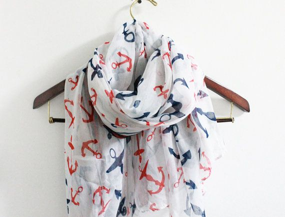 Classic Anchor Scarf Sailor Anchor Scarf Soft Navy Scarf with Red and Blue Anchor Prints Military Navy on Etsy, $15.00