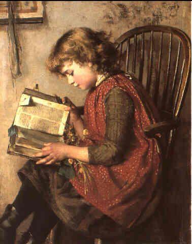 Niña leyendo de Charlotte J. Weeks (Gra-Bretanha, sem datas)