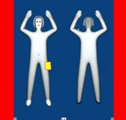 """Going through scanner at security ...Generic """"stick"""" figure image from full body scan."""