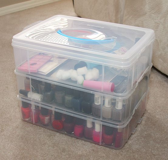 Nail polish storage. from walmart. maybe add foam dividers to keep polish bottles from banging