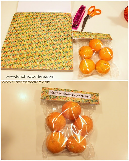 """Fill a ziplock with a treat, staple some cute scrapbook paper on top, and you have yourself a quick and easy holiday or """"thank you"""" treat!"""