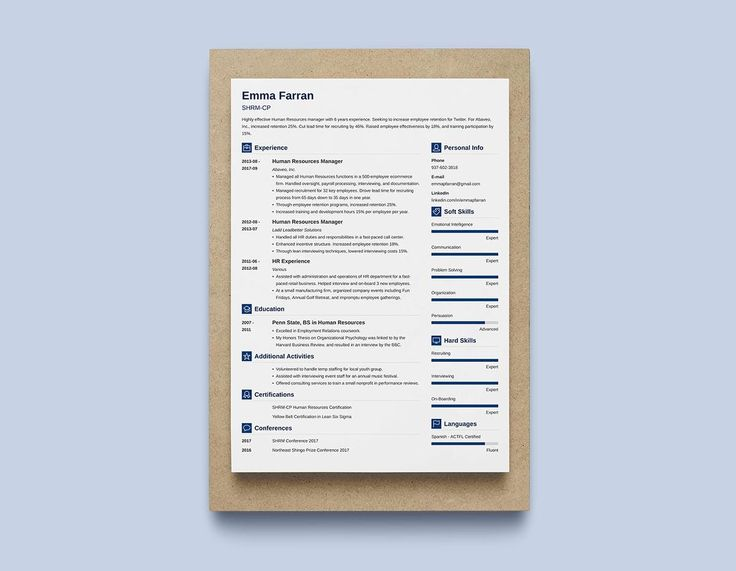 "With a name like ""Vibes,"" you know it's gotta be modern. This is another one of ours, and it combines some of the best features from our other modern resume templates.  It's got the full-width header for your name, title, and heading statement. A left-hand sidebar promotes your skills and achievements (also as a bar graph). Fashionable square icons make it easy for the hiring manager to locate each resume section."