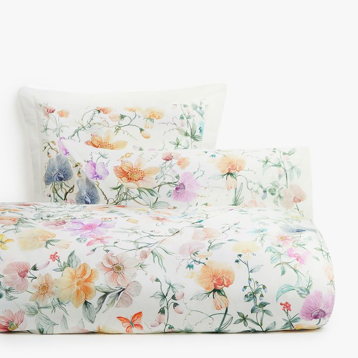 Multicoloured floral print duvet cover