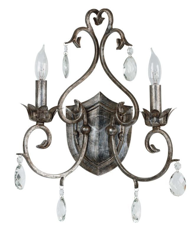 Kenroy Home 91342 Antoinette 2 Light Candle-Style Sconce Weathered Stone Indoor Lighting Wall Sconces Up Lighting