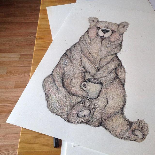 Søndag og første fullførte tegning på A2-ark✏️ #tålmodighetsprøve #tegning #drawing #kaffebjørn ☕️