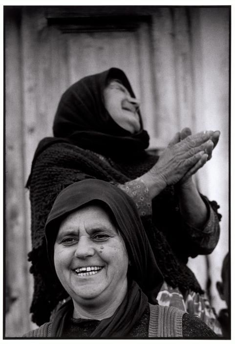 Constantine Manos View profile GREECE. Two women laughing in a village the the Peloponessus. Vintage Print, 1962-63.