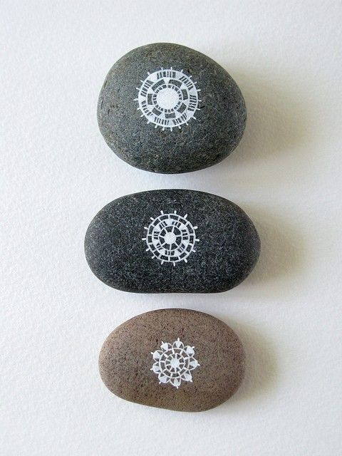 Patterned Circle Stones  Original acrylic ink painting on beach pebbles.  © Natasha Newton 2011    These pebbles were found on the beaches of