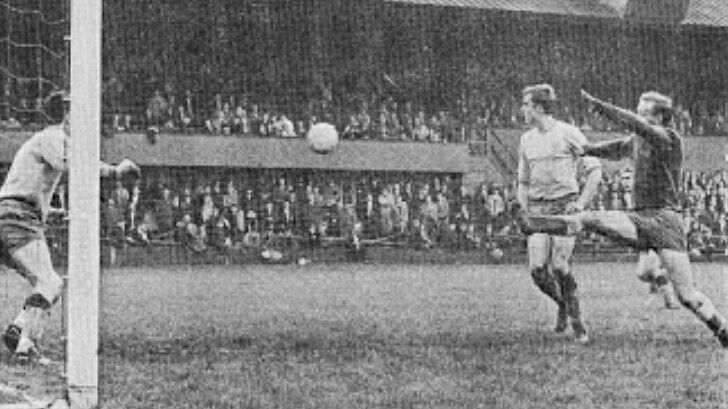 Bristol Rov 4 Mansfield Town 4 in Oct 1966 at Eastville. Alfie Biggs has his effort saved in the Division 3 match.