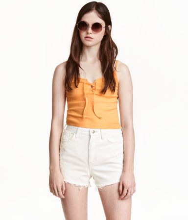 Camisole Top with Lacing | Apricot | Ladies | H&M US