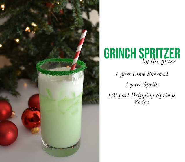 "Christmas Drink / Cocktail: ""Grinch Spritzer"" Lime sherbert, sprite and vodka - I would leave out the vodka and serve as super cute kiddie cocktails :)"