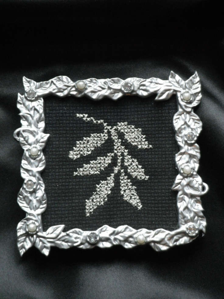 Framed Cross-Stitched Wiilliam Morris' Silver Leaves. $25.00, via Etsy.