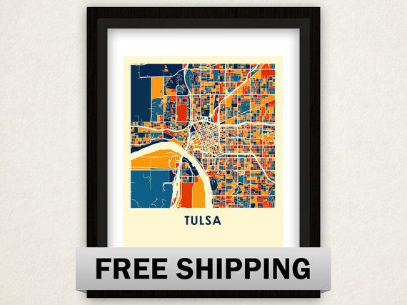 Tulsa Map Print  Full Color Map Poster by iLikeMaps on Etsy, $20.00