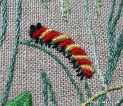 Love this little embroidered caterpillar! Made with bullion knots!
